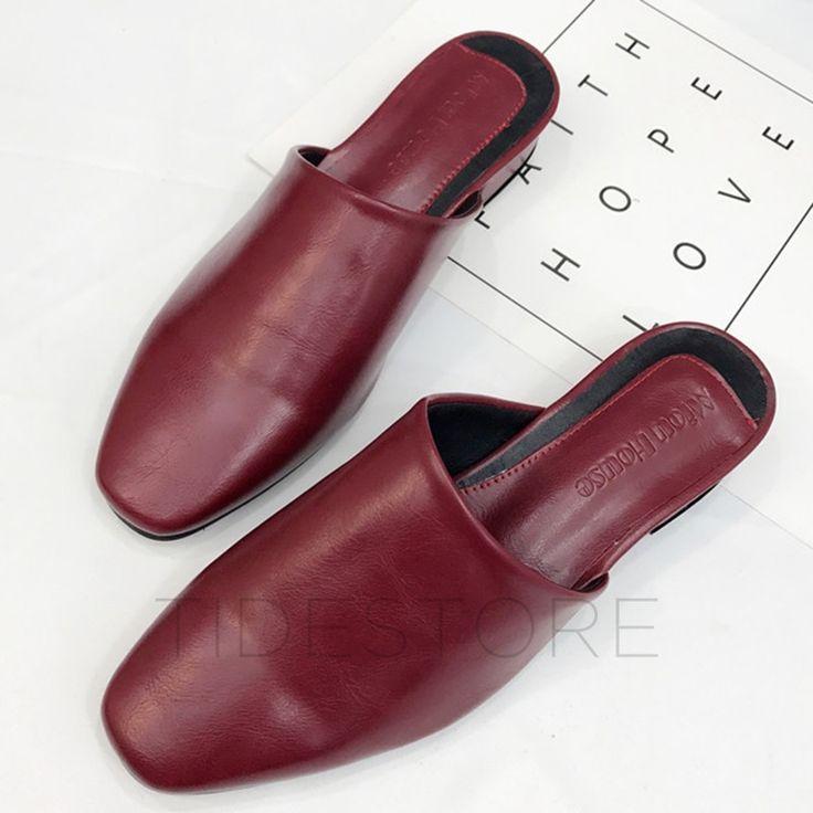 Block Heel Slip-On Women's Mules Shoes