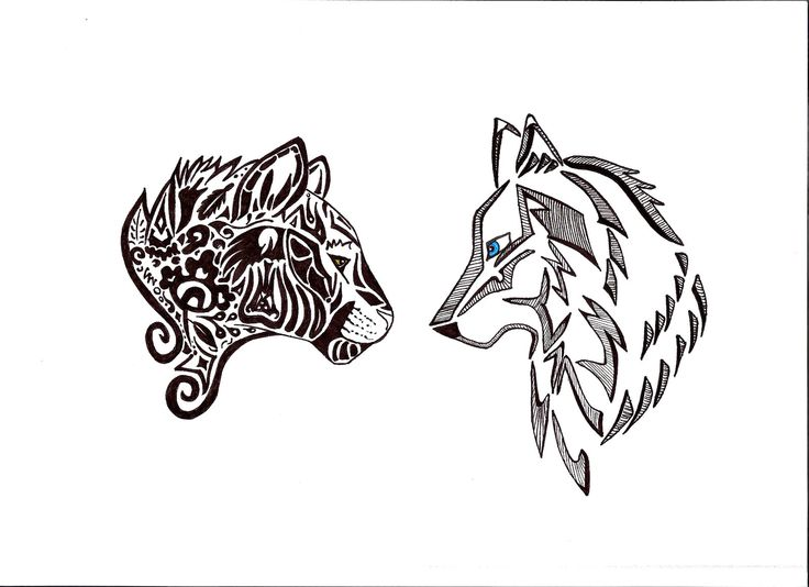 Panther and Wolf tattoo by jud-jee.deviantart.com on @deviantART
