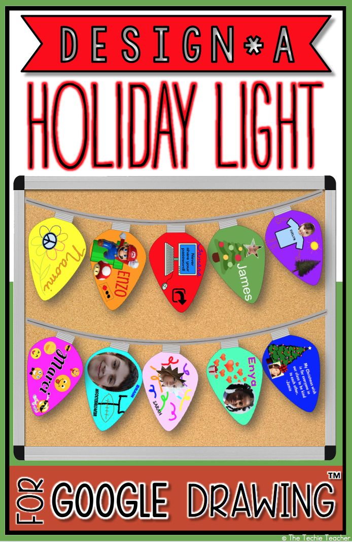 Design a Holiday Light in Google Drawing™️ is a fun technology project for Christmas, the holiday season OR the winter time.Students will use the lightbulb template that is provided in Google Drawing to design a holiday light. Print the lightbulbs, cut out and then attach to a string to hang up as a bulletin board display, door border or suspend fro your classroom ceiling! Choose an academic theme for your lightbulbs or have students decorate them for the holidays.