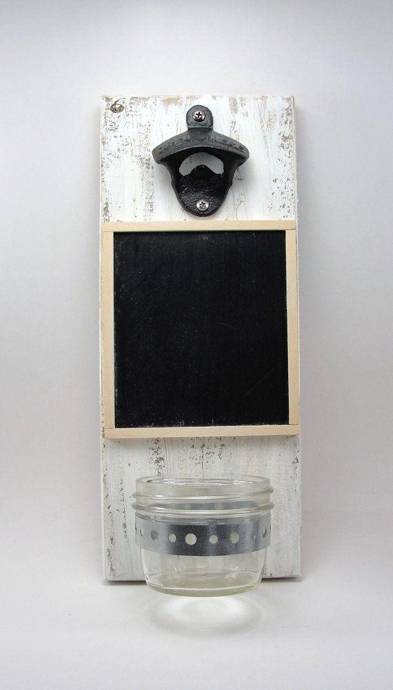 wall mount bottle opener cast iron chalkboard upcycled wood mason jar cap catcher on Etsy, $24.00