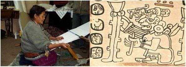 A la izquierda: una anciana tejedora del municipio de Santa Catarina Ixtahuacán, departamento de Sololá,  Guatemala. La imagen de la derecha: La Abuela Ixchel o Diosa O tejiendo, figura que aparece en la página 79 del Códice  Trocortesiano (o de Madrid). Nótense las similitudes en el instrumental y la técnica.