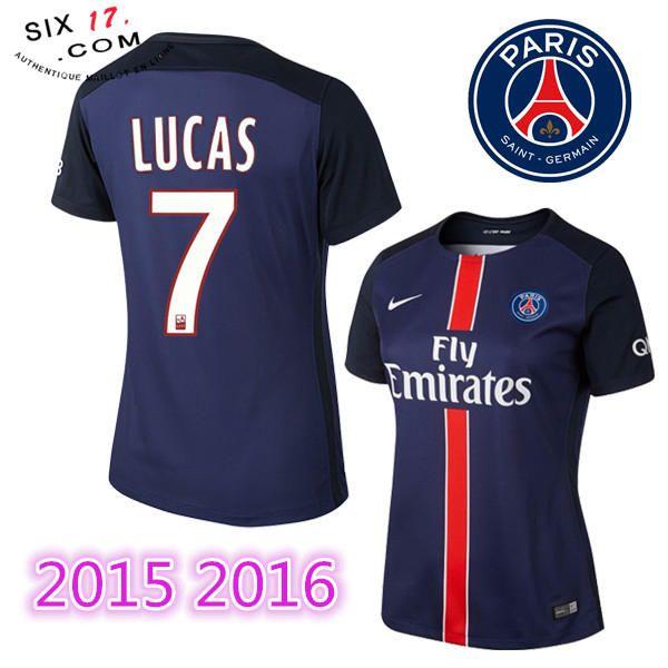 Boutique officiel nouveau maillot psg femme 2015 2016 LUCAS Domicile manche courte bleu Pas Cher