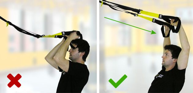 Insufficiently tight straps - http://www.coretrainingtips.com/6-most-common-mistakes-during-the-trx-workout/