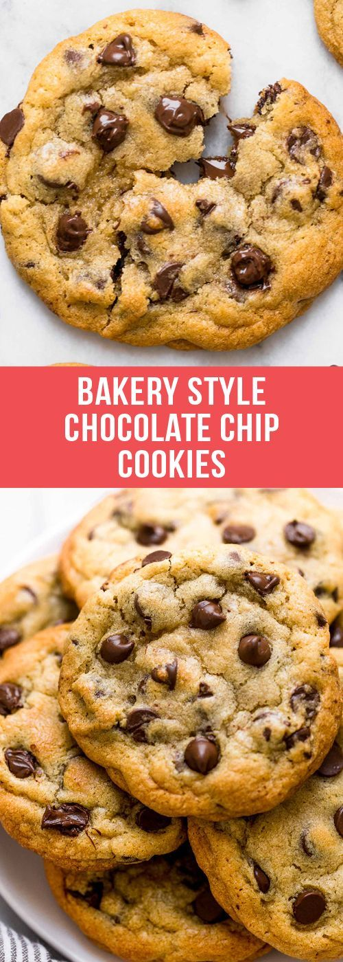 Ultra thick Bakery Style Chocolate Chip Cookies feature golden brown edges with ooey and gooey centers. This easy recipe can be made in 30 minutes!