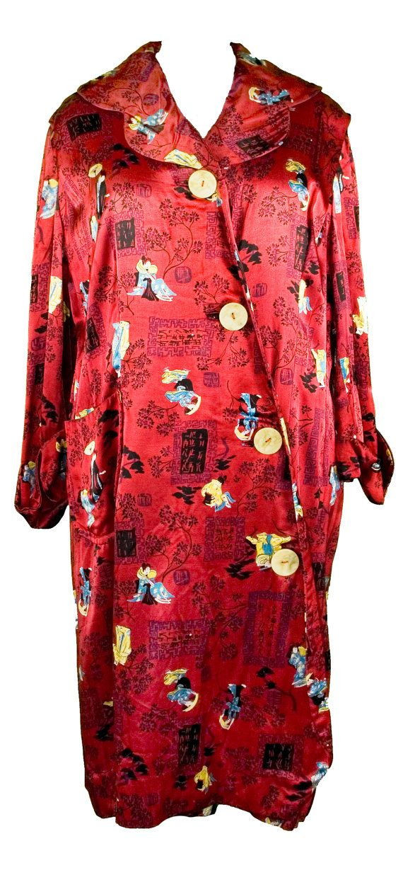 1920s Plus Size Dressing Gown Robe Satin Red Chinese Japanese Print Geisha