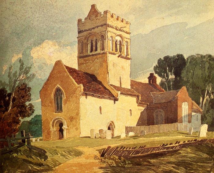 1818  Gillingham Church, Norfolk watercolor