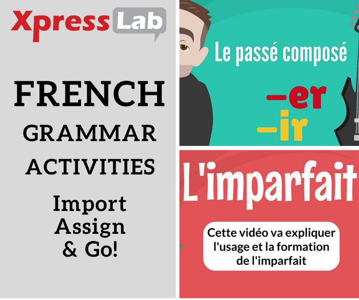 French Grammar Activities: just import, assign and go! Help students practice French grammar concepts with interactive online courses