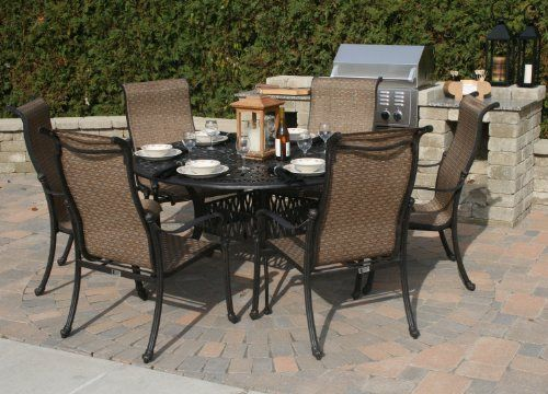 The Westin Collection 6 Person Cast Aluminum Sling Patio Furniture Dining  Set By Open Air