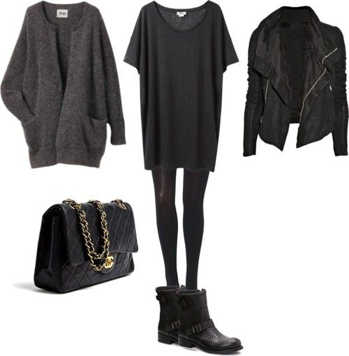 Veste en cuir, knit grey, Chanel bag, pantalon noir & t-shirt loosy