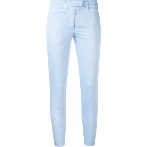 Dondup Perfect Trousers ($180) ❤ liked on Polyvore featuring pants, light blue, blue trousers, skinny pants, cotton stretch pants, blue pants and light blue pants