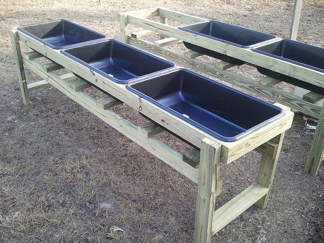 Salad tables using tubs