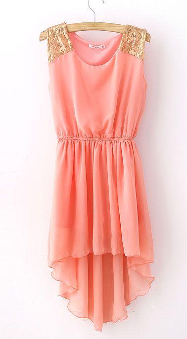 Pink Sequined Shoulder Dipped Hem Dress
