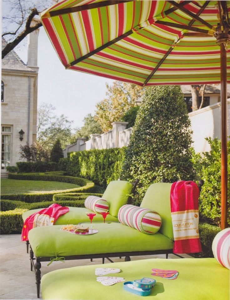 Colorful Backyard Pool Setting Love the color combo of red and chartreuse!