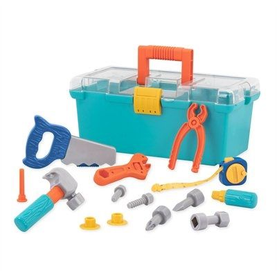All the tools an imaginative builder needs and a handy case to carry them all. INCLUDES: 1 tool case with 1 screwdriver and 3 bits, 1 hammer, 1 pair of pliers, 1 saw, 1 tape measure, 1 wrench, 1 nail, and 2 bolts with 2 nuts