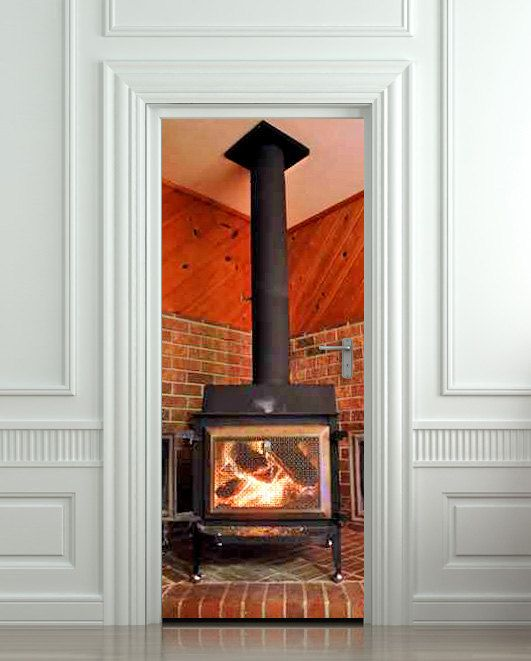 Door sticker fireplace stove log billet mural decole by for Poster mural 4 murs