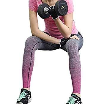 HARRYSTORE Mujer pantalones elásticos de yoga Gradiente de color yoga pantalones especiales leggings deportivos y apretados fitness (L, Rosa caliente)