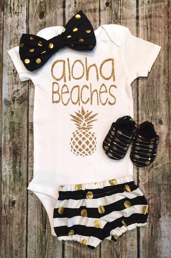 Baby Girl Onesie Aloha Beaches onesie Girls Shirt Aloha Beaches Shirts Beach Shirts Baby Shower Aloha Beaches - BellaPiccoli