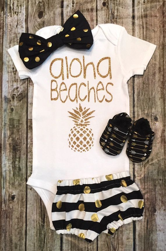 Baby Girl Onesie Aloha Beaches onesie Girls Shirt Aloha Beaches Shirts Beach Shirts Baby Shower Aloha Beaches - BellaPiccoli