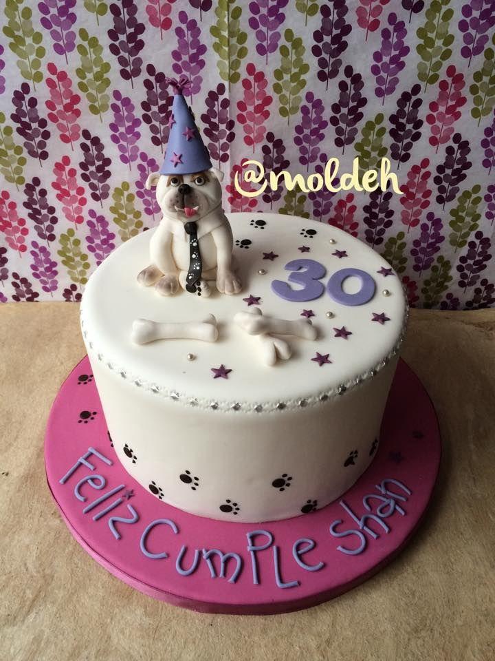 "Pastel de perrito bulldog ""Coronel"" para Cumpleaños 30 // ""Coronel"" bulldog 30th birthday cake"