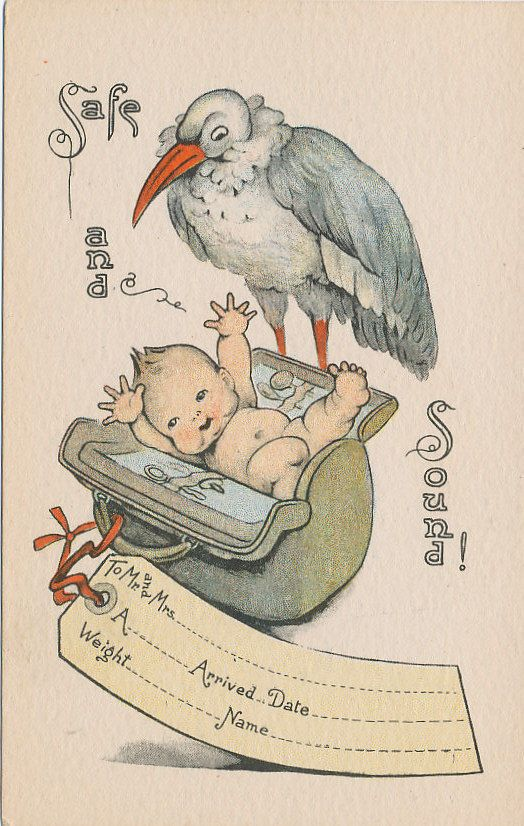 #7650 1910 POSTCARD STORK BABY BIRTH ANNOUNCEMENT SAFE & SOUND
