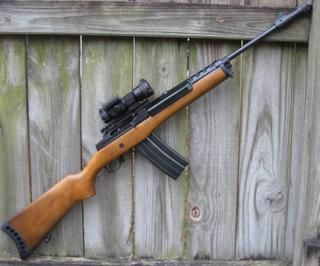 Ruger Mini 14 with a Strikefire red dot.