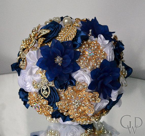 Bouquet azul marino ramo de broche ramo de por GreatWeddingDay
