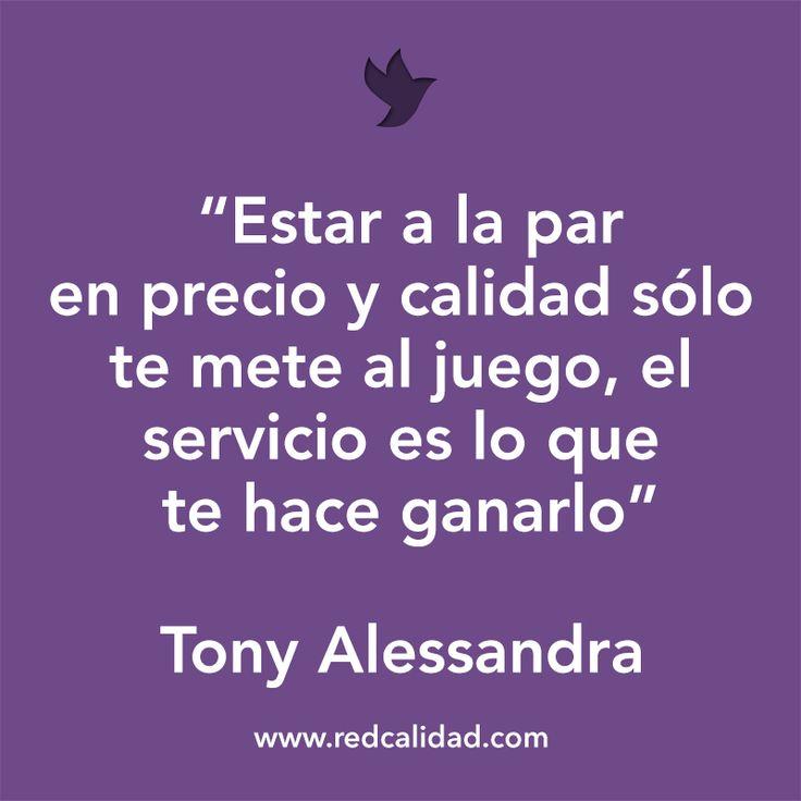'Estar a la par en precio y calidad sólo te mete al juego, el servicio es lo que te hace ganarlo'  Tony Alessandra