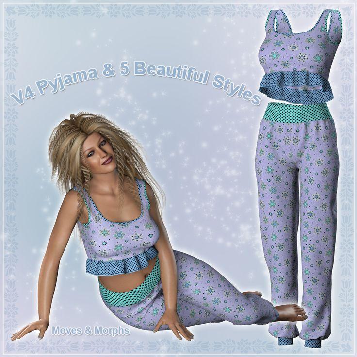 Poser - V4 Pyjama and 5 beautiful styles by karanta