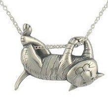 My favorite! Edward Gorey Silver Jewelry - Dangling Cat Necklace