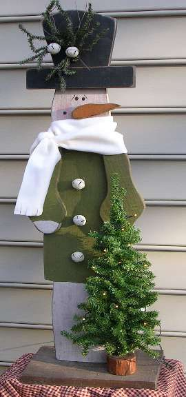 Wooden crafted snowman