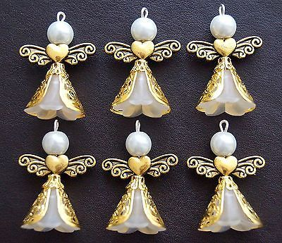 6x White Lucite Frosted Angel Charms Pendants Gold Silver Filigree Wings