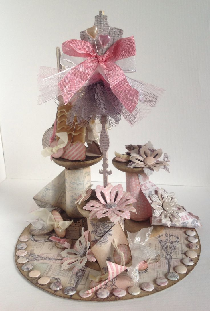 Bobbin decoration designed by Julie Hickey using Paper Couture Kit.