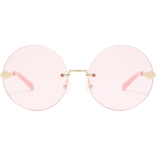 Karen Walker Eyewear Disco Circus round-frame sunglasses (3.328.250 IDR) ❤ liked on Polyvore featuring accessories, eyewear, sunglasses, pink multi, over sized sunglasses, pink glasses, oversized glasses, round frame glasses and round lens sunglasses