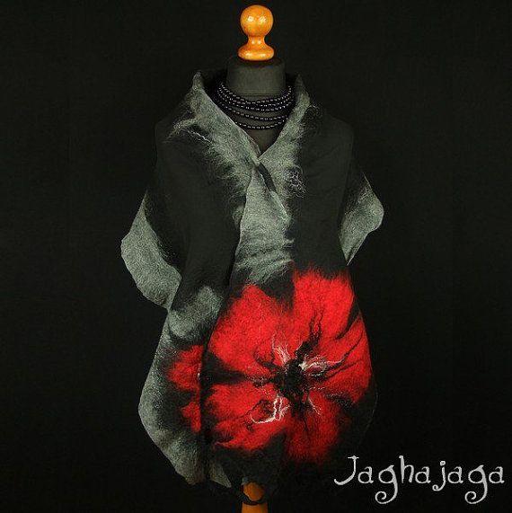 Evening shawl wrap silk scarf handmade shawl nuno felted