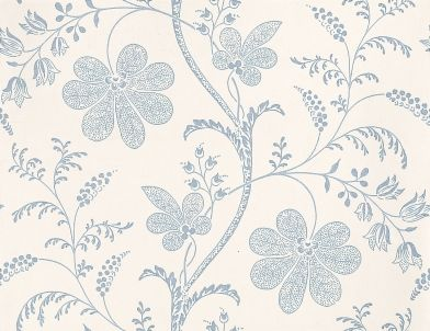 Bedford Square (0273BEPORCE) - Little Greene Wallpapers - A pretty intricate floral trail, outlined in china blue with delicate detail infill on a crisp white background. Please order sample for true colour match.