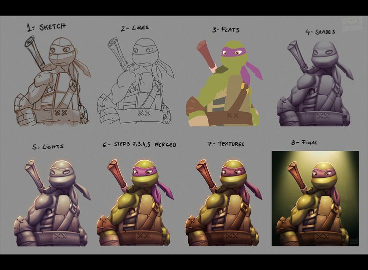 Step-by-step layering process Donatello WIP by Javas & 249 best #Light u0026 Shadow Color and Digital Painting images on ... azcodes.com