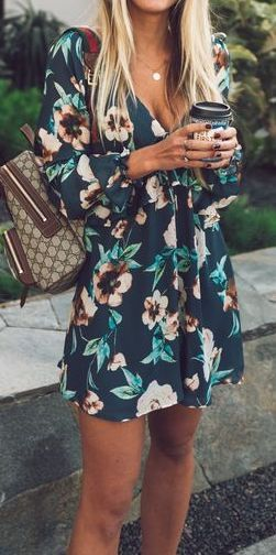 #summer #outfits / Green Flower Print Romper