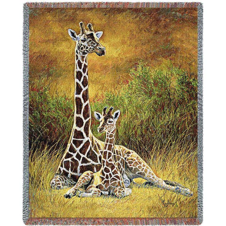 Giraffe Mother And Calf Art Tapestry Throw