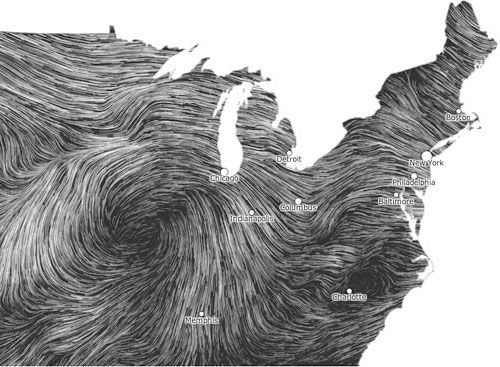 A snapshot of the Wind Map, created by @wattenberg and @viegasf
