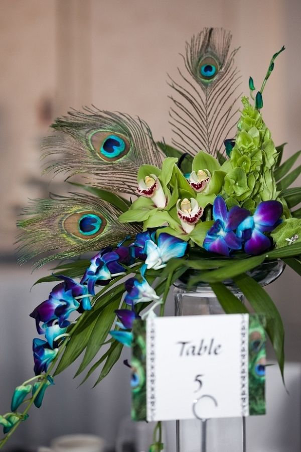 Peacock themed wedding center piece by summeryeah
