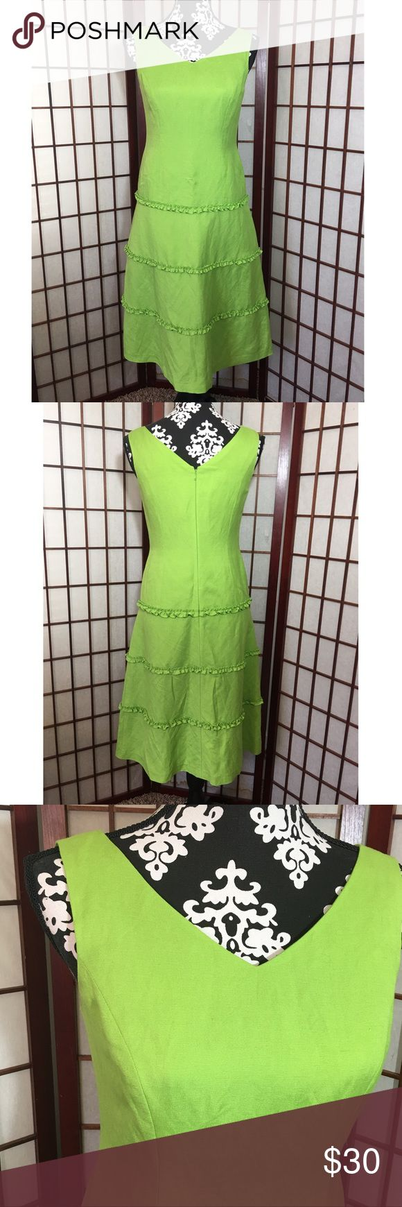 Talbots petites green linen sleeveless dress 2 Preowned Woman's Talbots petites green linen and rayon sleeveless dress lined zipper back with a snap on top ruffles on the bottom size 2 see measurements in pictures. Talbots Dresses
