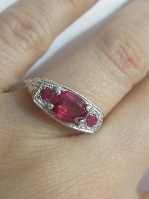 Antique Engagement Ring Ruby Color Stone Ring Engagement Rings Vintage Rectangle Ring Art Deco Engagement Ring CZ Engagement Ring by MILAVIJEWELRY on Etsy