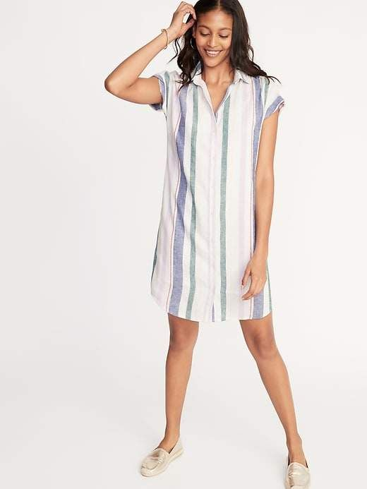 0ee4389167b03 Old Navy Multi-Stripe Linen-Blend Shirt Dress for Women in 2019