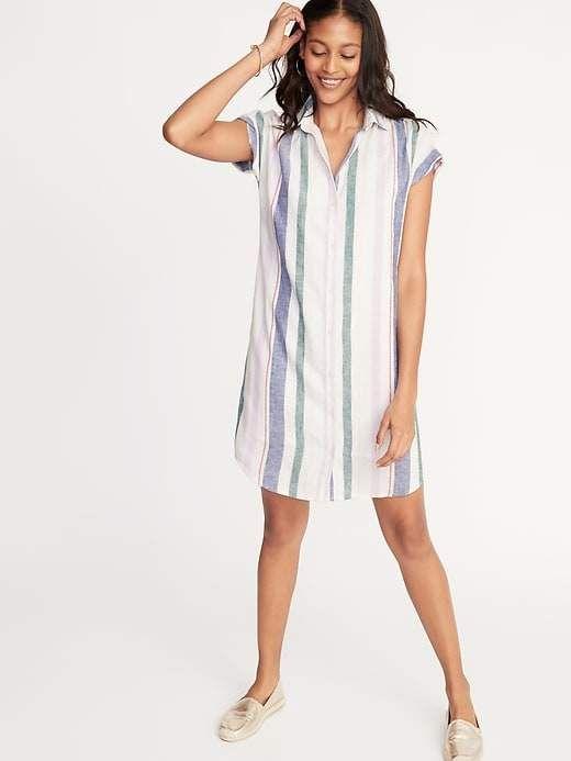 d7e0c5fca6a Old Navy Women s Multi-Stripe Linen-Blend Shirt Dress Multi Stripe ...
