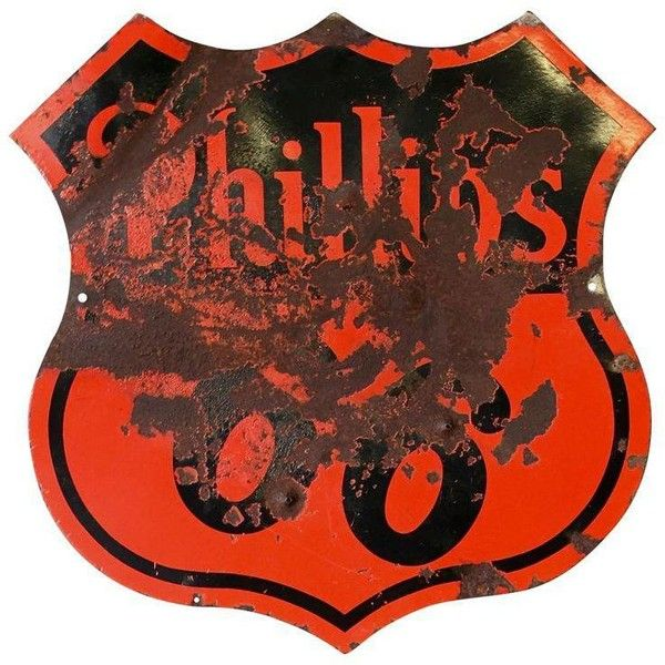 Vintage Phillips 66 Porcelain Sign Circa 1950s (£365) ❤ liked on Polyvore featuring home, home decor, wall art, signs, red and black home decor, red and black wall art, porcelain wall art, porcelain sign and oil sign