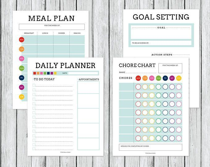 Meal Planner Chore Chart Goal Setting Calendar Bullet Journal