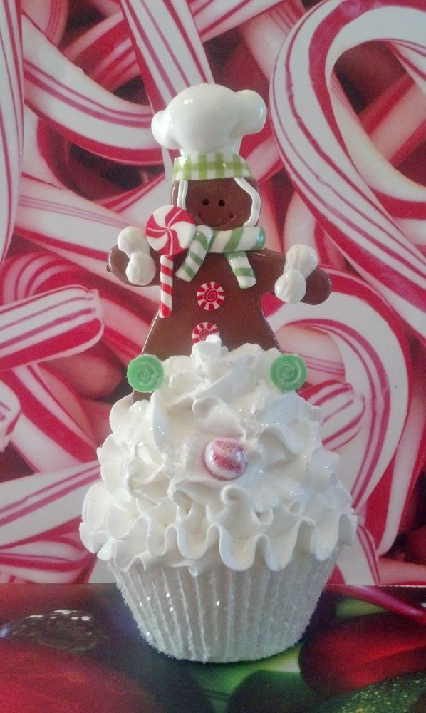 GINGERBREAD BOY FAKE CUPCAKE PEPPERMINT LOLLIPOPS PHOTO PROPS CHRISTMAS DECOR #FAKECUPCAKECREATIONS