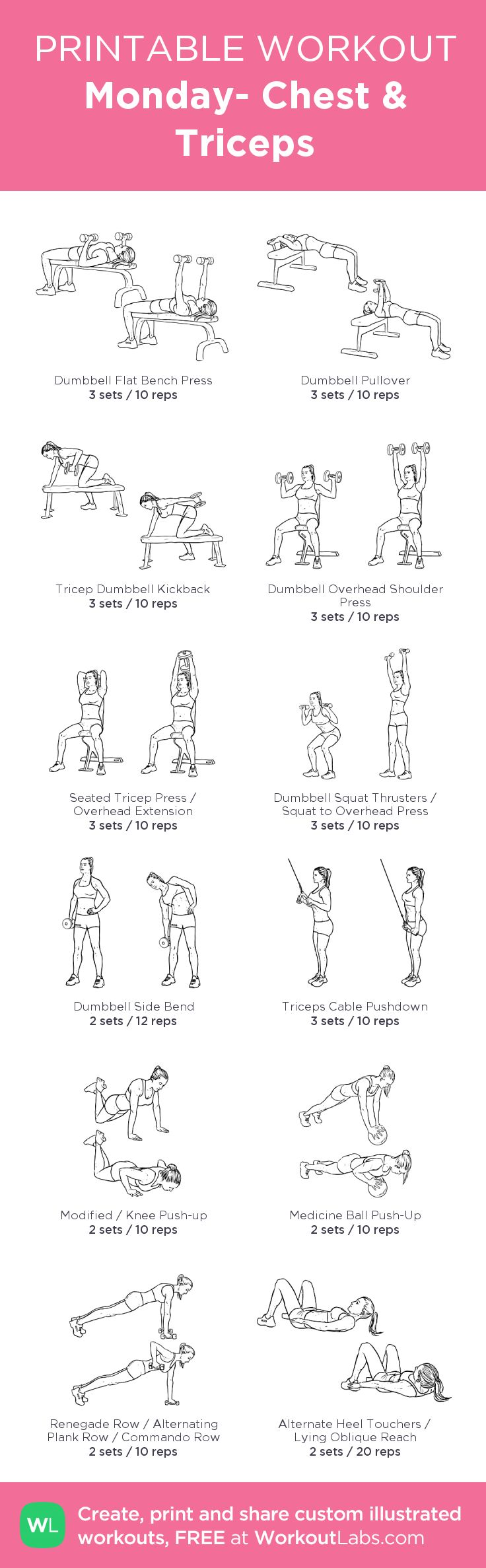 Monday- Chest & Triceps:my visual workout created at WorkoutLabs.com • Click through to customize and download as a FREE PDF! #customworkout