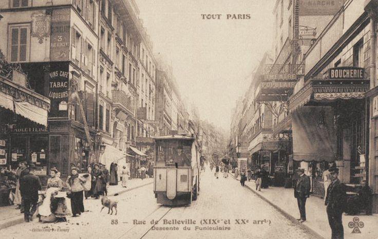 La rue de Belleville vers 1900. La descente du funiculaire.