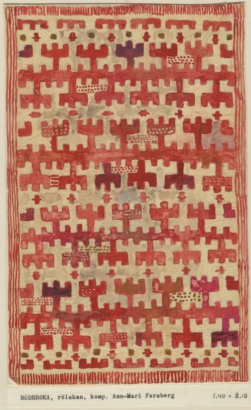 Ann-Marie Forsberg. Design for rölakan rug Rödbroka, 1944  AB Märta Måås-Fjetterström